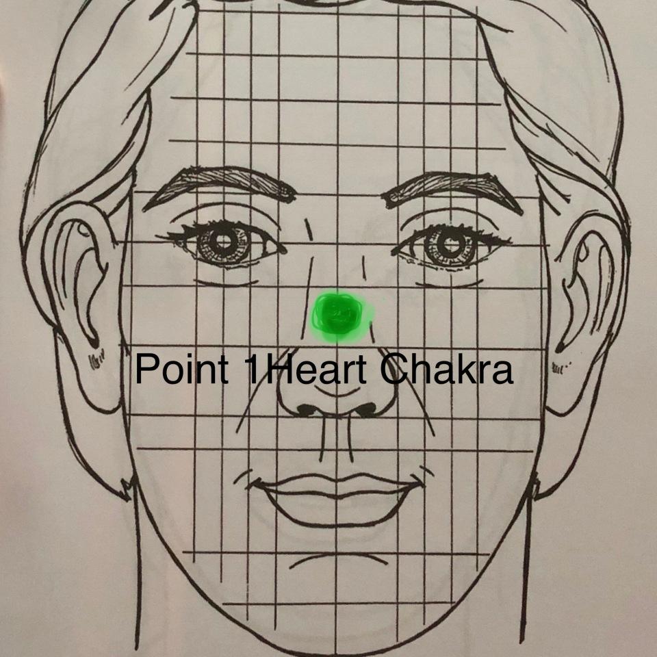 Point 1: Heart Chakra Facial Reflexology Map